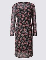 Marks and Spencer Floral Print Lined Long Sleeve Shift Dress