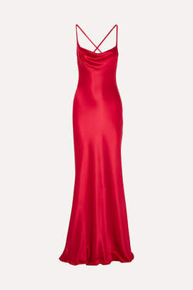 Galvan Whiteley Open-back Silk-satin Gown - Red