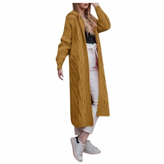 Rikay Women Sweater Rikay Womens Knitted Chunky Hooded Oversized Pocket Long Jumpers Cardigans Sweater Cape Open Front Outwear 5 Color S-3XL Yellow