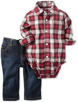 Carter's 2-Pc. Plaid Shirt-Bodysuit & Jeans Set, Baby Boys (0-24 months)