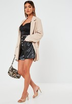 Missguided Black Faux Leather Button Mom Shorts