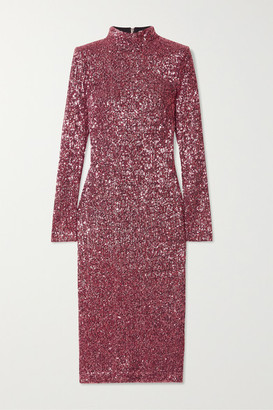 Rebecca Vallance Mona Sequined Stretch-knit Midi Dress - Blush