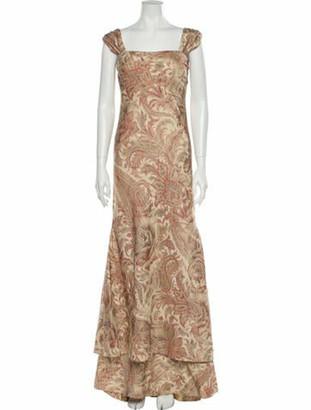 Oscar de la Renta Vintage Long Dress Brown