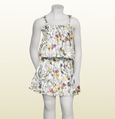 Gucci White Cotton Muslin With Flora Infinity Print