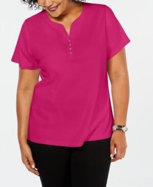 Karen Scott Plus Size Cotton Henley Top, Created for Macy's