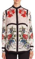 Alexander McQueen Silk Crepe De Chine Floral-Print Blouse