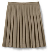 Lands' End Juniors Solid Pleated Skirt Below the Knee-Khaki