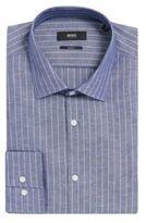 HUGO BOSS Pinstripe Italian Cotton Linen Dress Shirt, Slim Fit Jenno 15.5Blue