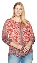 Lucky Brand Women's Plus Size Placed Peasant Top