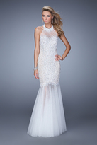 La Femme GiGi - 21363 Beaded Illusion Halter Mermaid Dress