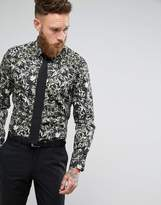 Moss Bros Skinny Smart Shirt In Print