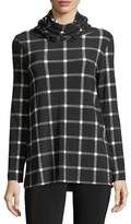 Norma Kamali Oversized Plaid Long-Sleeve Turtleneck Top