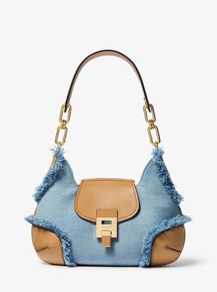 Michael Kors Bancroft Medium Frayed Denim Shoulder Bag