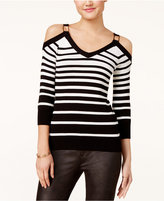 XOXO Juniors' Striped Cold-Shoulder Sweater