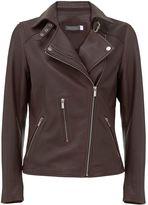 Mint Velvet Bordeaux Clean Leather Zip Biker Jacket
