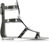 Giuseppe Zanotti Anthracite Metallic Leather Sandal