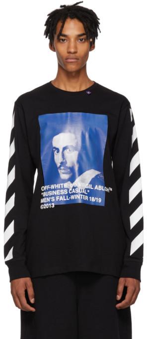 Off-White Black Diagonal Bernini Long Sleeve T-Shirt