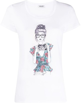 Liu Jo doll-print cotton T-shirt