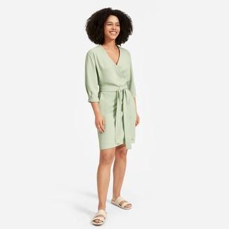 Everlane The Japanese GoWeave Long-Sleeve Mini Wrap Dress