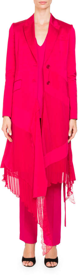 Givenchy Two-Button Mixed-Panel Ruffled-Hem Linen-Silk Coat