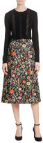 RED Valentino Wool Cardigan with Lace Paneling