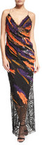 Versace Sleeveless Sequin Feathered Open-Back Gown, Multi Colors