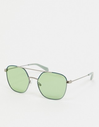 Polaroid aviator sunglasses in green
