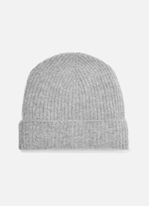 Johnstons of Elgin Ribbed Cashmere Beanie - Light gray