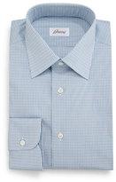 Brioni Micro-Check Grenadine Dress Shirt, Aqua