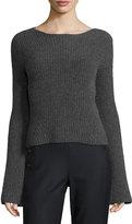 Elie Tahari Maeve Ribbed Cashmere Sweater, Charcoal Melange