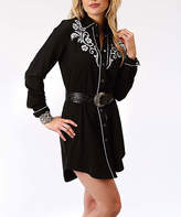 Roper Black Floral Embroidered Button-Up