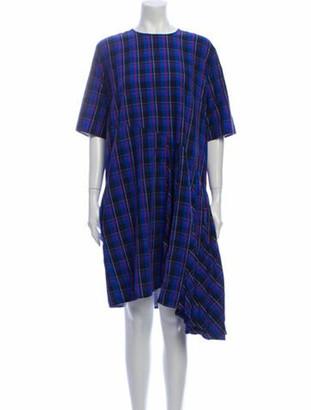 Public School Plaid Print Knee-Length Dress Blue