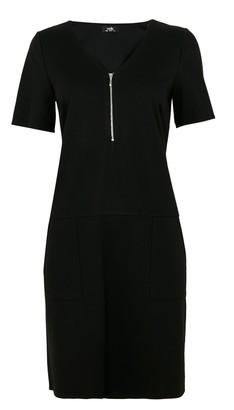 Wallis Black Zip Front Ponte Shift Dress