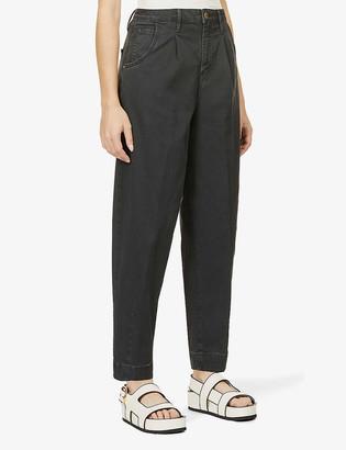 Frame Barrel high-rise straight-leg stretch-cotton jeans