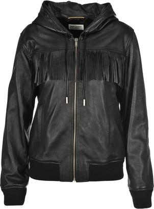 Saint Laurent Fringed Detail Hooded Drawstring Jacket