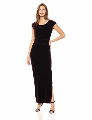Vince Camuto Women's Velvet Extended Cap Sleeve Gown