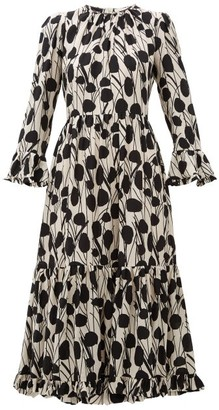La DoubleJ Visconti Moses-print Silk Crepe De Chine Dress - Womens - Cream Print