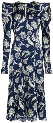 Johanna Ortiz Wild Blue Wonder Silk Puff-Sleeve Midi Dress