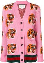 Gucci Web Tiger intarsia cardigan