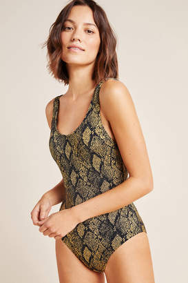 Solid & Striped Snake-Printed One-Piece Swimsuit