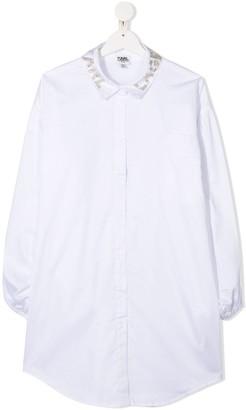 Karl Lagerfeld Paris TEEN embellished collar shirt dress