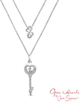 Zales Open Hearts by Jane SeymourTM Diamond Accent Key and Open Heart Pendant in Sterling Silver - 17""