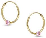 Zales Child's Hoop Earrings with Pink Cubic Zirconia in 14K Gold
