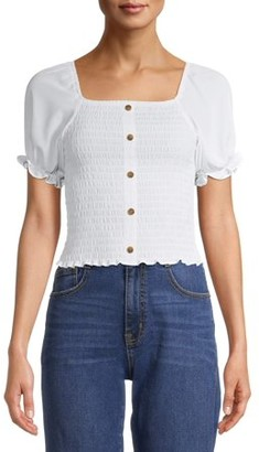 No Boundaries Juniors' Smocked Button Front Puff Sleeve Top