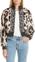 Stella McCartney Animal Faux Fur & Jacquard Bomber Jacket