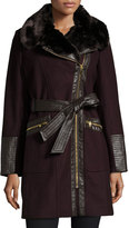 Via Spiga Wool-Blend Asymmetric-Zip Belted Coat, Wine