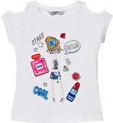 Mayoral White Girl Print and Applique Tee