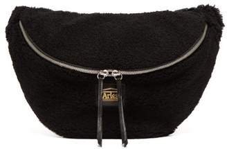 Aries Elis Logo Sheepskin Belt Bag - Womens - Black