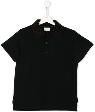 Fendi Kids Logo Collar Polo Shirt