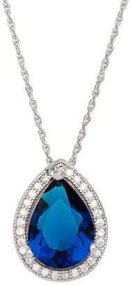 Color Gallery Sterling Silver White and Navy Blue Cubic Zirconia Tear Drop Pendant with Rope Chain